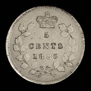 Canada, Victoria, 5 cents : 1885