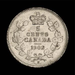 Canada, Edward VII, 5 cents : 1902