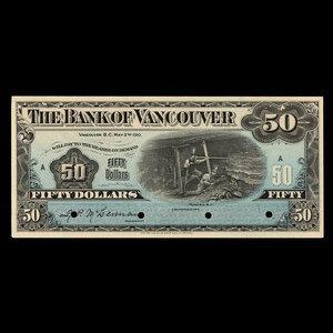 Canada, Bank of Vancouver, 50 dollars : May 2, 1910