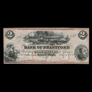 Canada, Bank of Brantford, 2 dollars : November 1, 1859