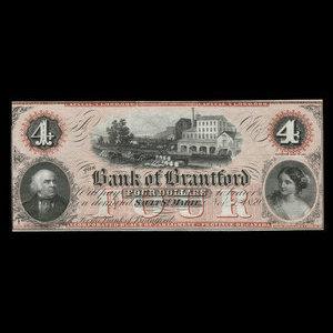 Canada, Bank of Brantford, 4 dollars : November 1, 1859