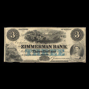 Canada, Zimmerman Bank, 3 dollars : December 1856