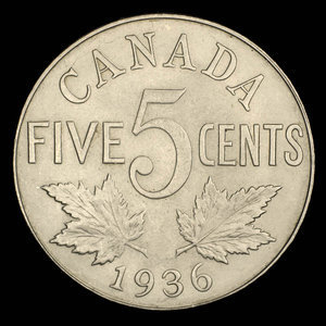 Canada, George V, 5 cents : 1936