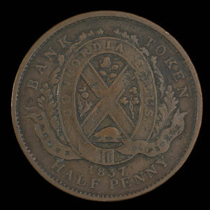 Canada, Banque du Peuple (People's Bank), 1/2 penny : 1837
