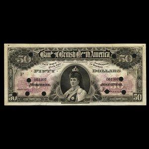 Canada, Bank of British North America, 50 dollars : July 3, 1911