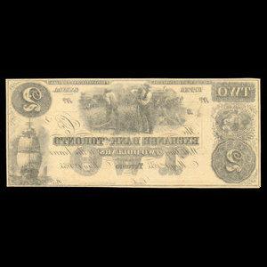 Canada, Exchange Bank of Toronto, 2 dollars : May 1, 1855