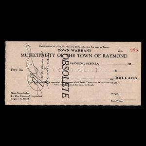 Canada, Town of Raymond, no denomination : 1935