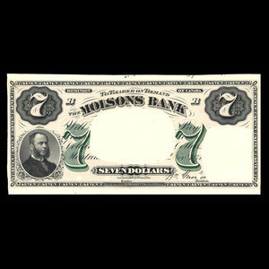 Canada, Molsons Bank, 7 dollars : November 1, 1871