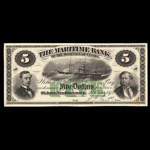 Canada, Maritime Bank of the Dominion of Canada, 5 dollars : January 2, 1873
