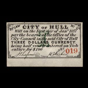 Canada, City of Hull, 3 dollars : January 1, 1877