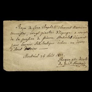 Canada, Father Roque, 20 dollars : August 25, 1812