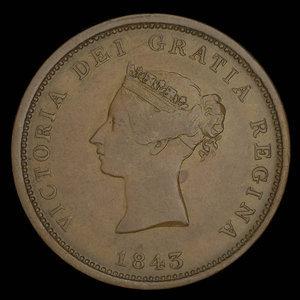 Canada, Province of New Brunswick, 1 penny : 1843