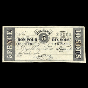 Canada, Hart's Bank, 10 sous : October 1, 1837