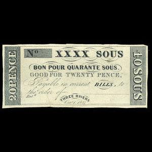 Canada, Hart's Bank, 40 sous : October 1, 1837