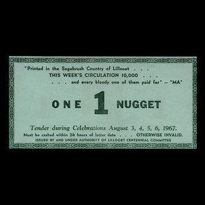 Canada, Lillooet Centennial Committee, 1 nugget : August 6, 1967