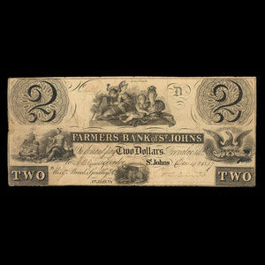 Canada, Farmers Bank of St. Johns, 2 dollars : December 4, 1837