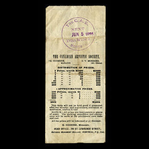 Canada, Canadian Artistic Society Limited, no denomination : June 5, 1895