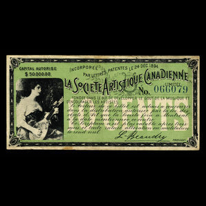 Canada, Canadian Artistic Society Limited, no denomination : March 7, 1895