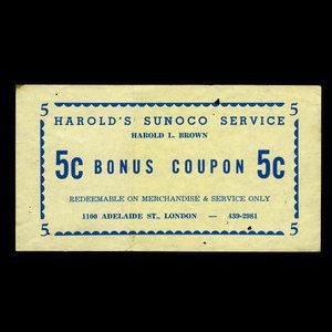 Canada, Harold's Sunoco Service, 5 cents : 1978