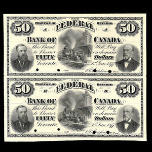 Canada, Federal Bank of Canada, 50 dollars : January 1, 1877