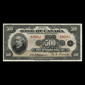 Canada, Bank of Canada, 500 dollars : 1935