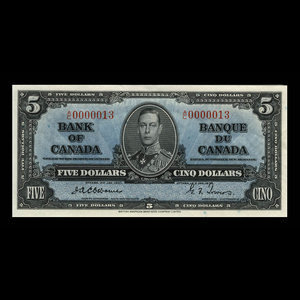 Canada, Bank of Canada, 5 dollars : January 2, 1937