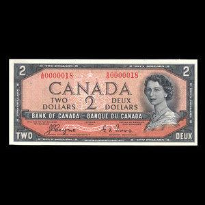 Canada, Bank of Canada, 2 dollars : 1954