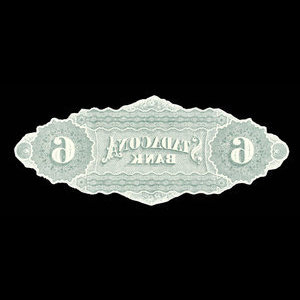 Canada, Stadacona Bank, 6 dollars : April 2, 1874