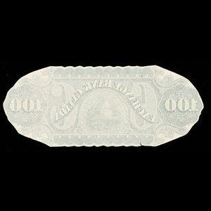 Canada, Exchange Bank of Canada, 100 dollars : January 2, 1873