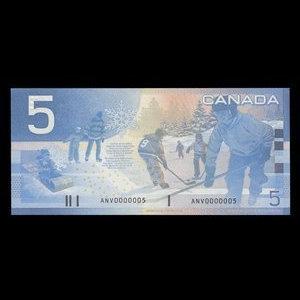 Canada, Bank of Canada, 5 dollars : 2002