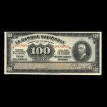 Canada, La Banque Nationale (National Bank), 100 dollars <br /> November 2, 1922