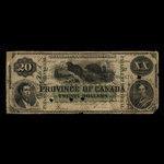Canada, Province of Canada, 20 dollars <br /> October 1, 1866