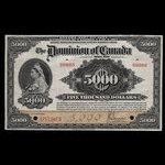 Canada, Dominion of Canada, 5,000 dollars <br /> January 2, 1924