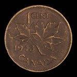 Canada, George VI, 1 cent <br /> 1943