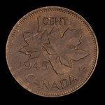 Canada, George VI, 1 cent <br /> 1945