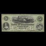 Canada, Bank of Brantford, 5 dollars <br /> November 1, 1859