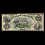 Canada, Bank of Yarmouth, 5 dollars <br /> January 7, 1891