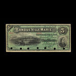 Canada, Banque Ville-Marie, 5 dollars <br /> January 2, 1889