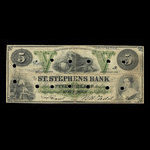 Canada, St. Stephen's Bank, 5 dollars <br /> February 1, 1886