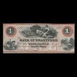 Canada, Bank of Brantford, 1 dollar <br /> November 1, 1859