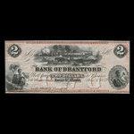 Canada, Bank of Brantford, 2 dollars <br /> November 1, 1859