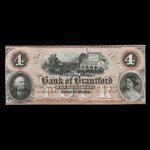 Canada, Bank of Brantford, 4 dollars <br /> November 1, 1859