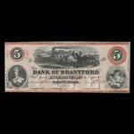 Canada, Bank of Brantford, 5 dollars <br /> November 1, 1859