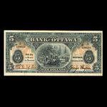 Canada, Bank of Ottawa (The), 5 dollars <br /> September 1, 1913