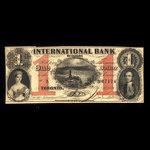 Canada, International Bank of Canada, 1 dollar <br /> September 15, 1858