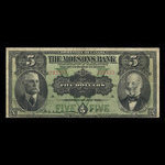 Canada, Molsons Bank, 5 dollars <br /> July 2, 1918
