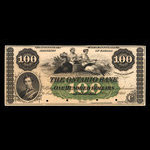 Canada, Ontario Bank, 100 dollars <br /> August 3, 1860