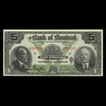 Canada, Bank of Montreal, 5 dollars <br /> January 2, 1923