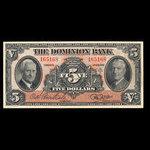 Canada, Dominion Bank, 5 dollars <br /> January 3, 1938