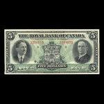 Canada, Royal Bank of Canada, 5 dollars <br /> January 3, 1927